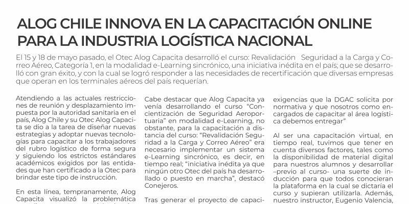 Alog Chile innova en la capacitacion online para la industria logistica nacional