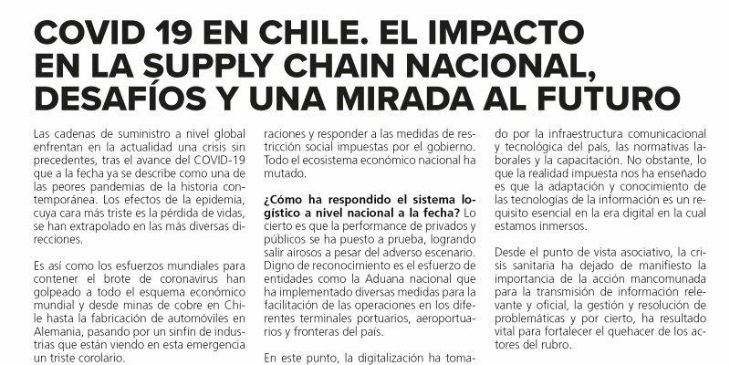 COVID 19 en Chile. El impacto en la supply chain nacional, desafios y una mirada al futuro